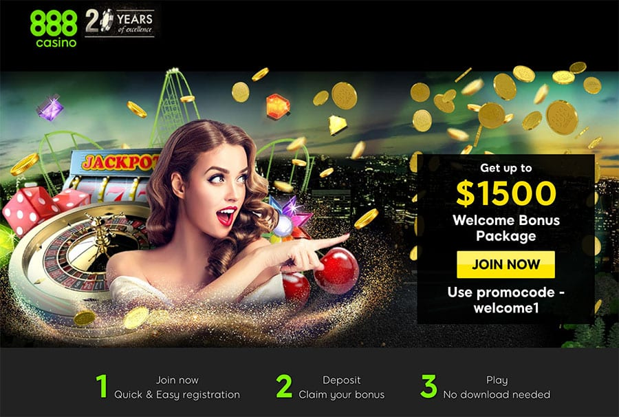 888 Casino: Get up to $1500 Welcome Bonus Package.