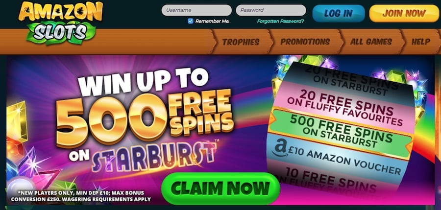 Amazon Slots: Win up to 500 Free Spins on Starburst