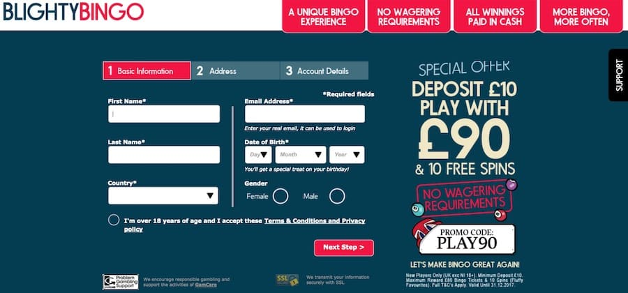 Blighty Bingo: Deposit £10 Play with £90 + 10 Free Spins