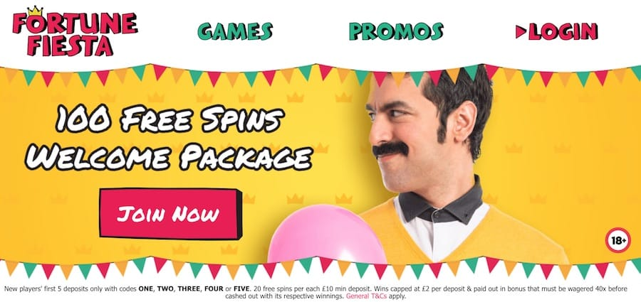 Fortune Fiesta Casino: 100 Free Spins Welcome Package