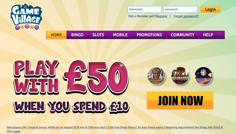 Game Village Bingo: Play with £50 on Deposit of £10