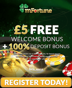 mFortune Casino: £5 No Deposit Bonus