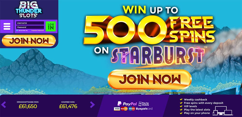 Big Thunder Slots: Win up to 500 Free Spins on Starburst