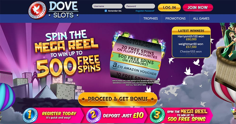 Dove Slots: Win upo to 500 Free Spins