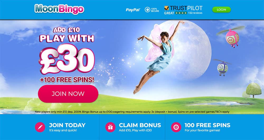 Moon Bingo: 200% Bonus and 100 Free Spins on First Deposit.