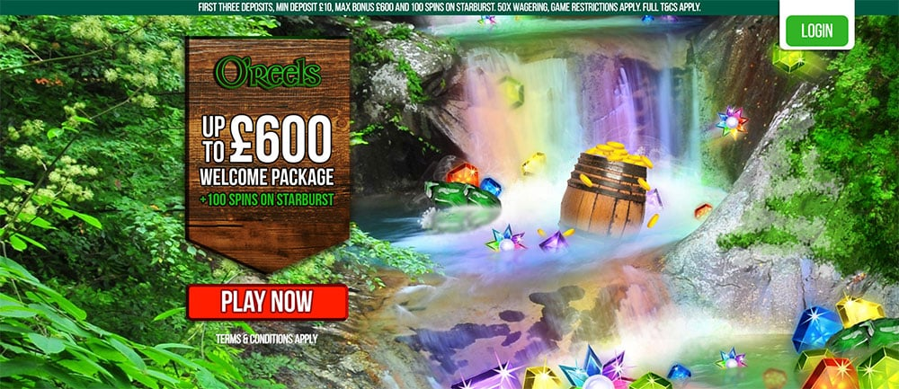 Oreels Casino: Up to £600 Welcome Offer + 100 Extra Spins.