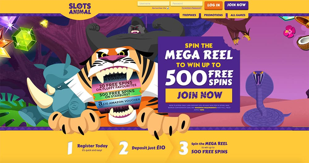 Slots Animal: Win up to 500 Free Spins on Mega Reel