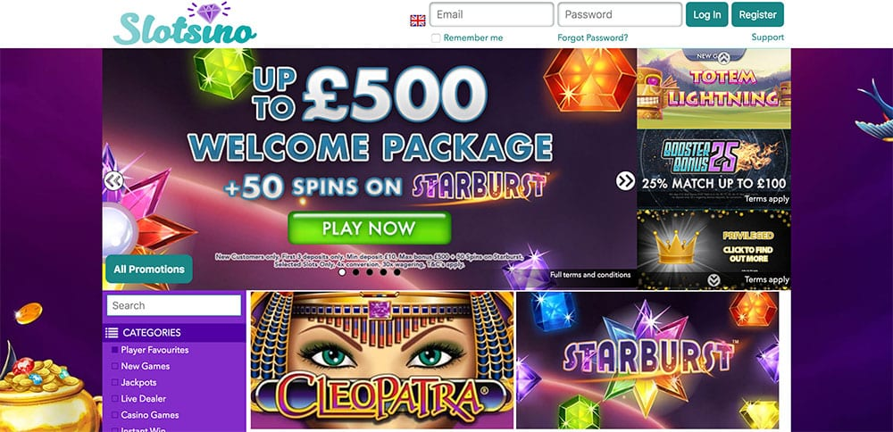 SlotSino Casino: Up to £500 Welcome Package + 50 Free Spins.
