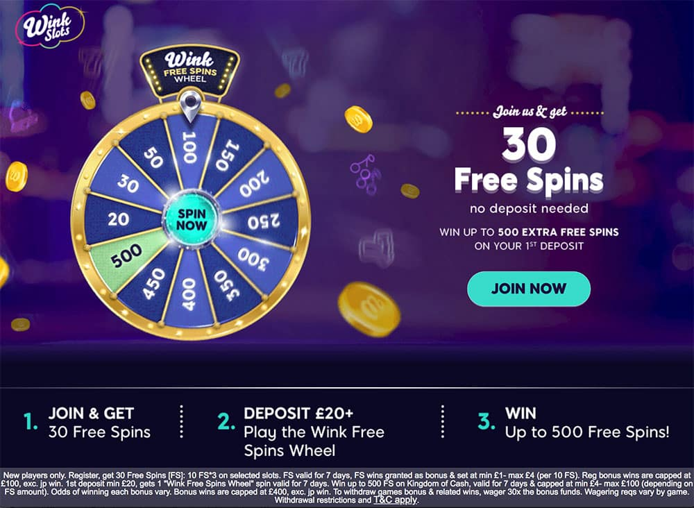 Wink Slots Casino: 30 Free Spins No Deposit Required
