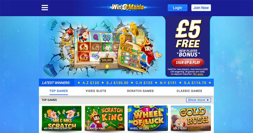 winomania Casino: £5 Free No Deposit Required Bonus
