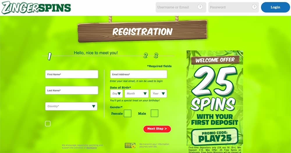 Zinger Spins: 25 Free Spins on First Deposit.
