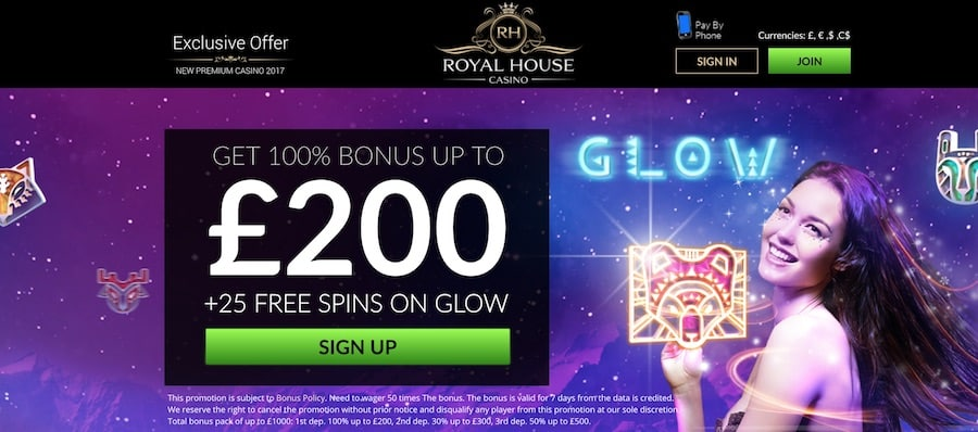 Royal House Casino: 100% up to £200 + 25 Free Spins