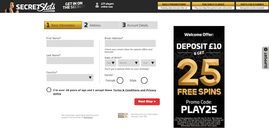 Secret Slots: 25 Free Spins on Your First Deposit