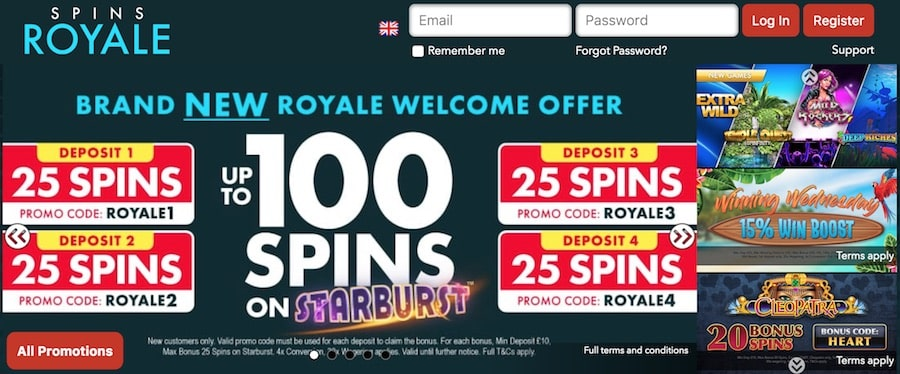 Spins Royale Casino: 100 Free Spins