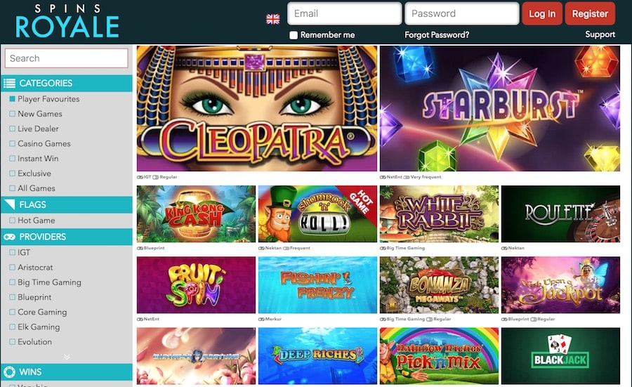 Spins Royale Casino: Over 250 Fanastic Casino Games