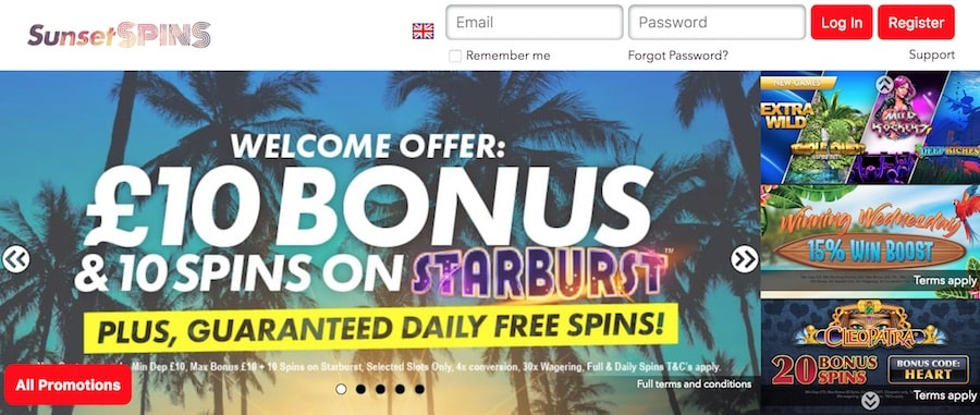 Sunset Spins Casino: Welcome Bonus £10 and 10 Free Spins