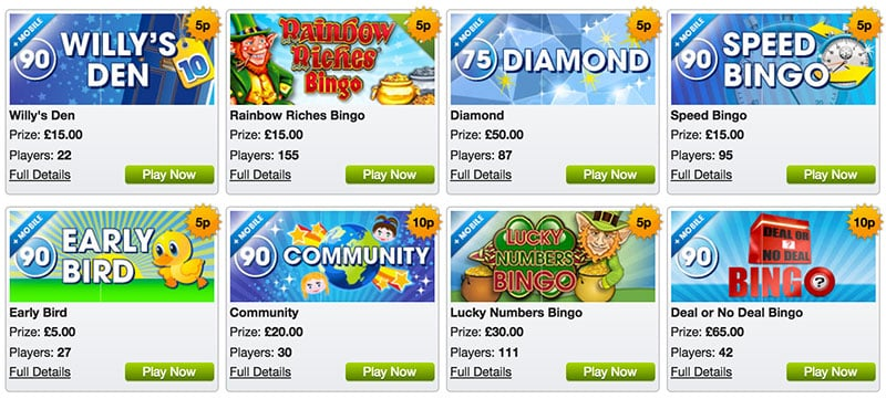 William Hill Bingo Games