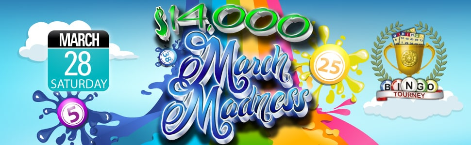 CyberBingo.com $14,000+ Cash March Madness Bingo Extravaganza