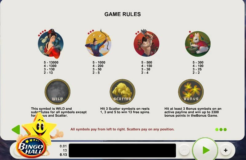 Lady of the Moon Slots Rules