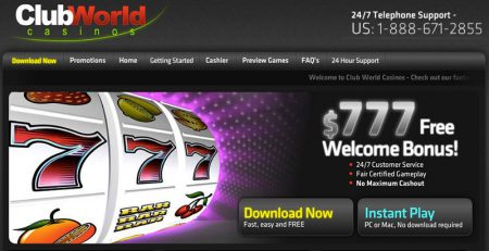 Collect your 70% bonus with Club World Casinos