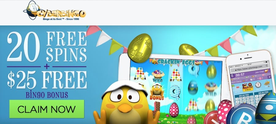 Cyber Bingo: $25 Free No Deposit Offer + 20 Free Spins
