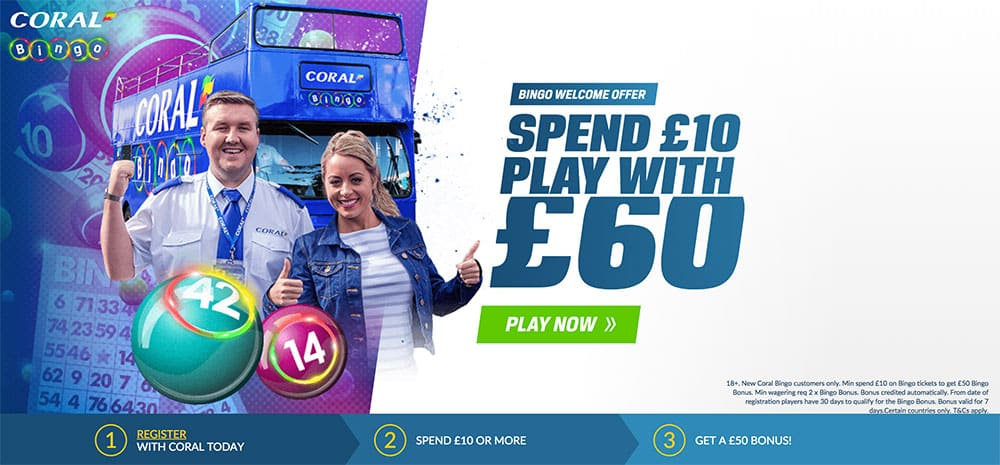 Coral Bingo Welcome Bonus of £50!