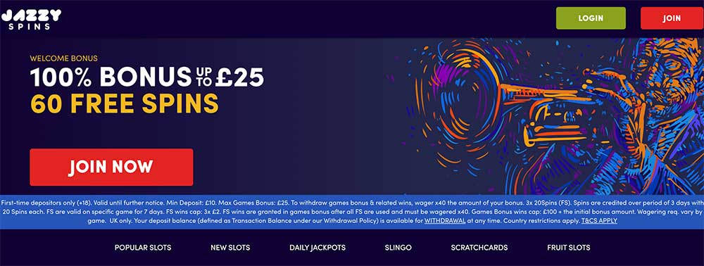 Jazzy Spins Casino Bonus Codes