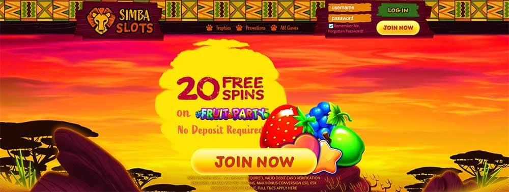 Simba Slots No Deposit Bonus